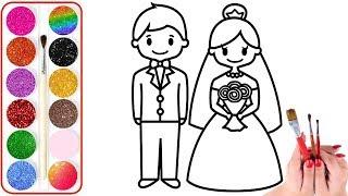 Vẽ và Tô Màu Cô Dâu Chú Rể xinh đẹp, Đồ chơi tô màu,Tranh tô màu cho Bé, Coloring Bride and Groom