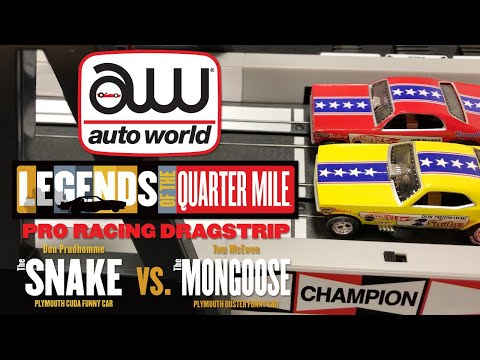 Auto World - Snake Vs. Mongoose 13' Slot Car Pro Racing Dragstrip
