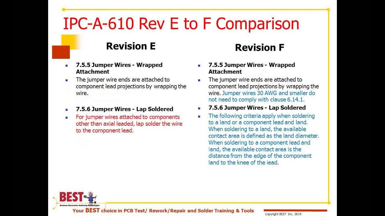IPC-A-610 Revision E to F Comparison Webinar