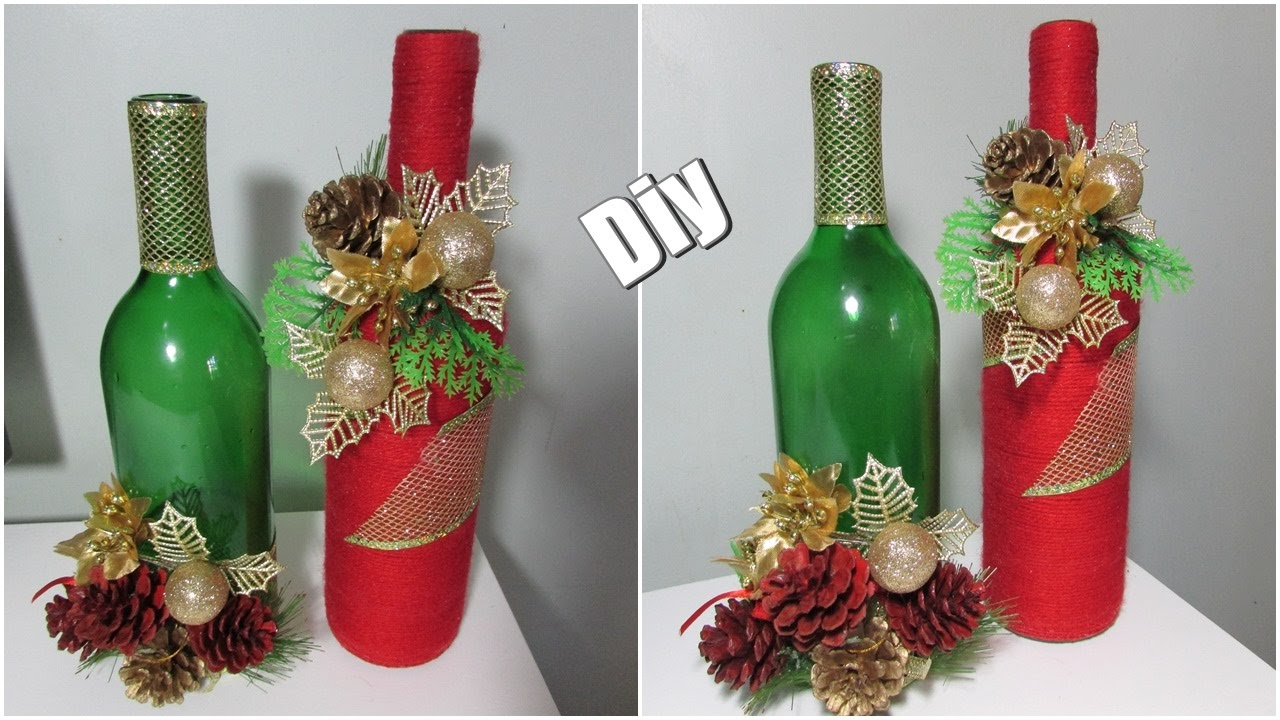 Faça voc u00ea mesmo Garrafas decoradas para o NATAL YouTube -> Decorar Garrafa De Vidro Para Natal