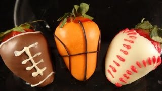 "Dipped ""sports"" strawberries (Superbowl football strawberries)"