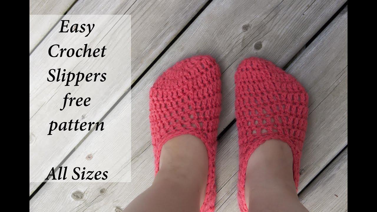 Easy Crochet Slippers For All Sizes Youtube