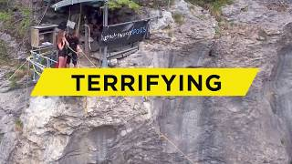 TERRIFYING CANYON SWING IN GRINDELWALD, SWITZERLAND