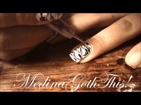 perfect4Halloween: Navy Blue & White Marble nail art #4