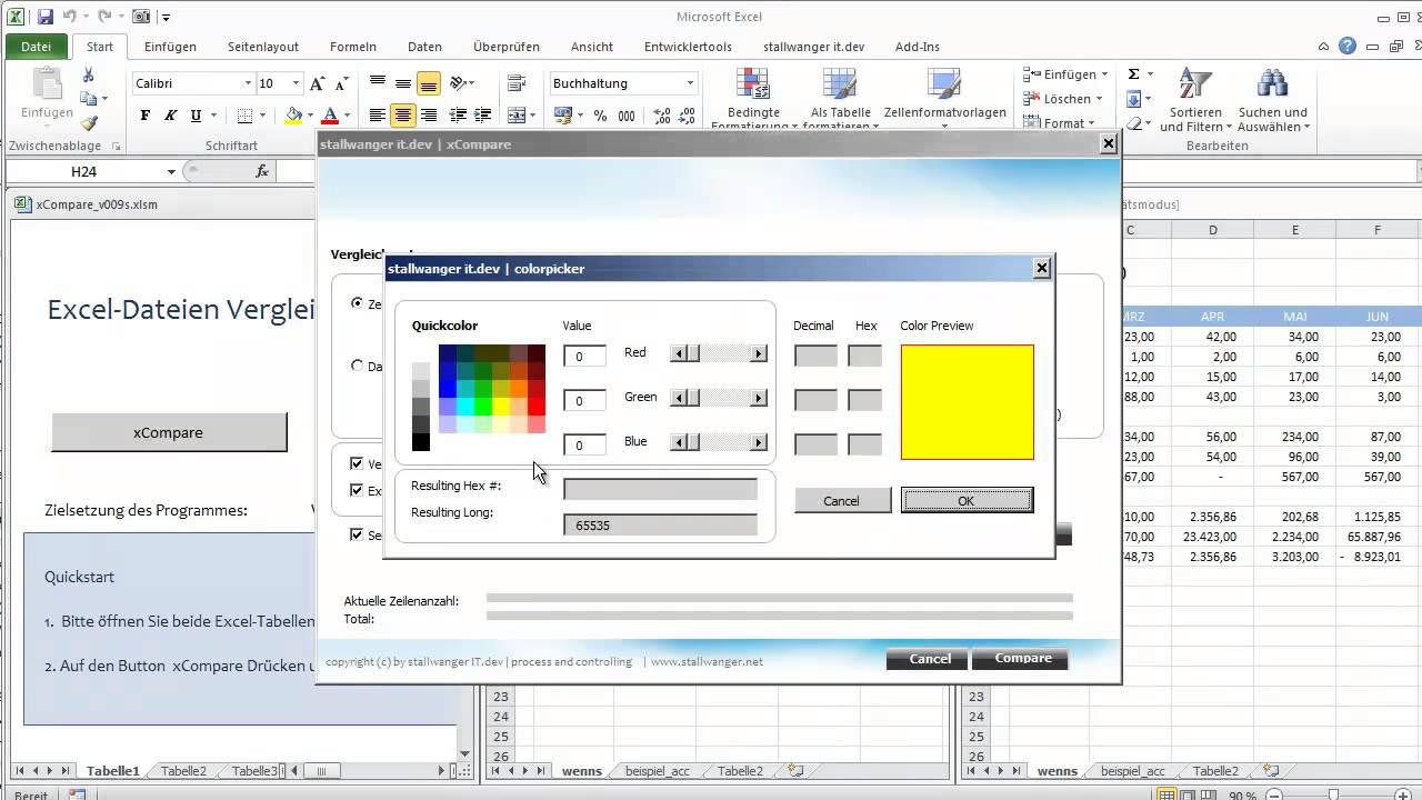 Excel Dateien vergleichen - xCompare - YouTube