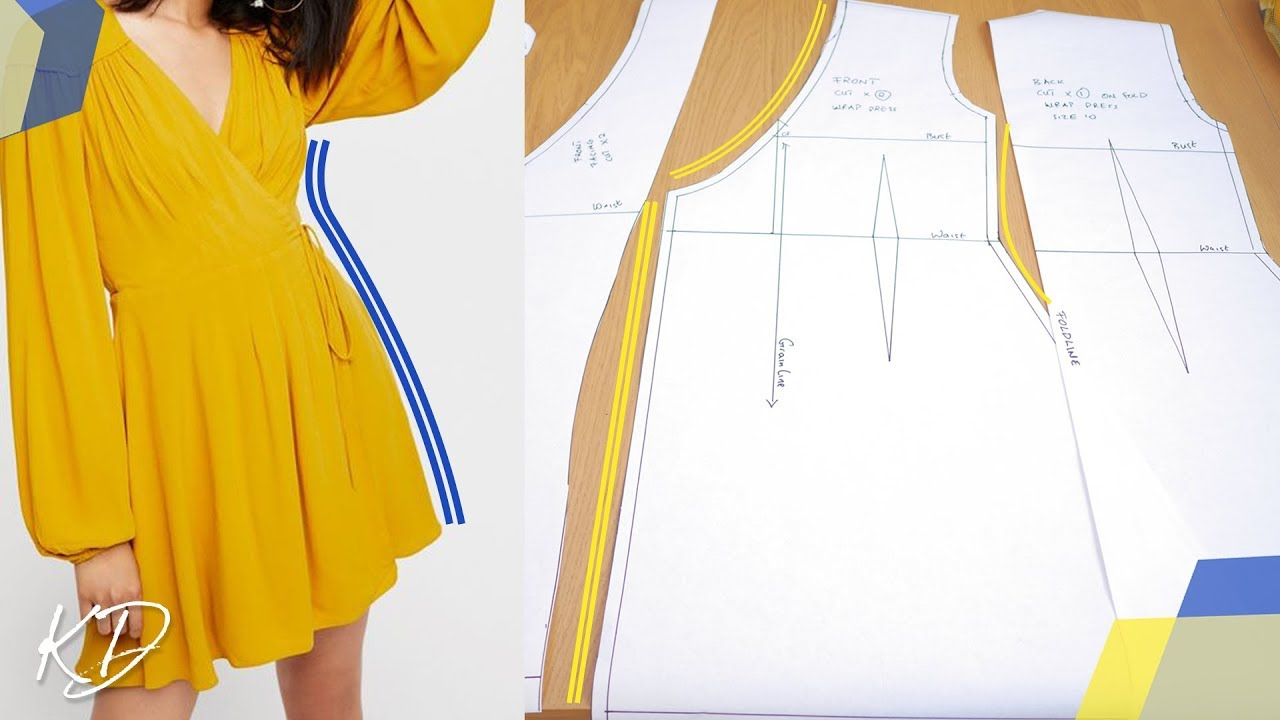 How To Draft Wrap Dress Patterns Kim Dave Youtube