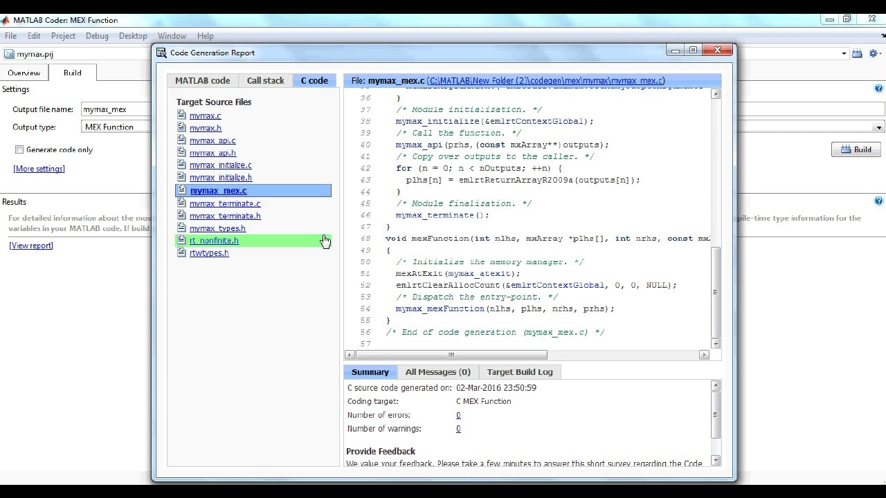 Convert Matlab to C_Mex file
