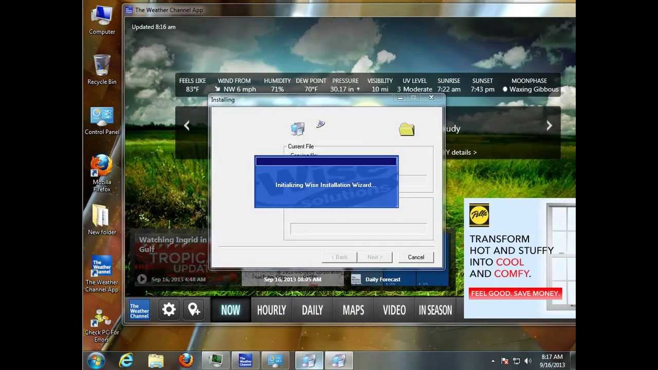 uninstall the weather channel app for windows 7