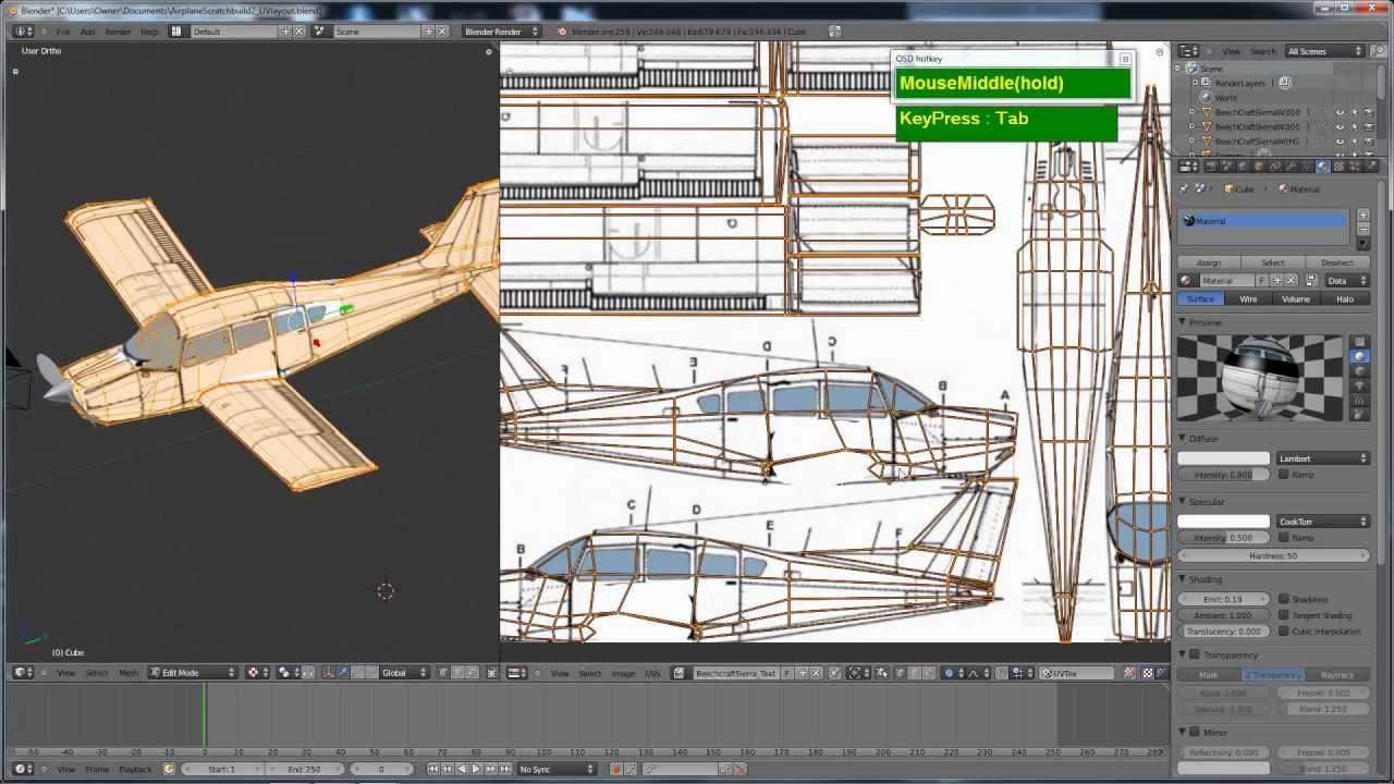 blender uv layout projection texturing for the airplane timelapse model youtube. Black Bedroom Furniture Sets. Home Design Ideas