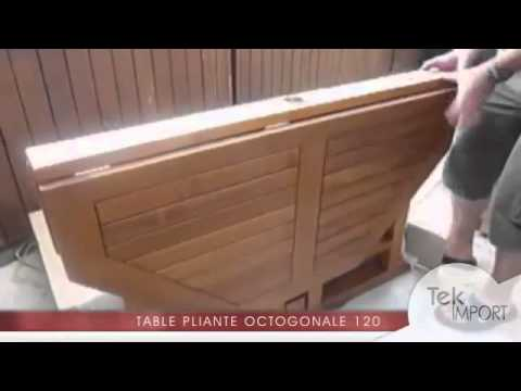 Table en teck massif pliante octogonale 120 cm - Tek Import - YouTube