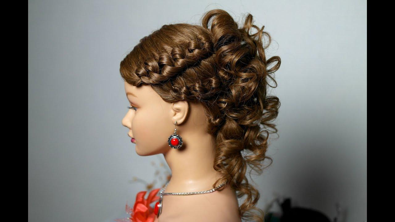 Прически с плетением на средние волосы на торжество 8