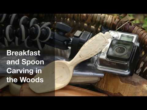 Breakfast and spoon carving in the woods - basic chip carving details