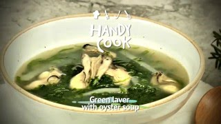 Green laver with oyster soup