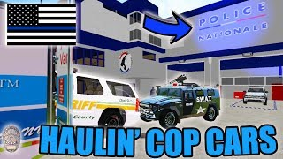 TRANSPORTING COP CARS | NEW POLICE STATION! | CHARGER + SWAT | FARMING SIMULATOR 2017