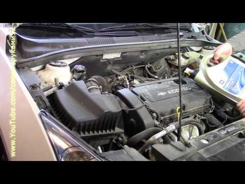 Замена масла масленного фильтра и воздушного фильтра Chevrolet CRUZE 1 8 Mp4