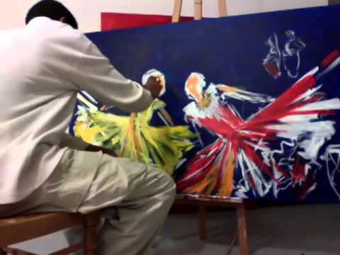 haitian superflat painting - dancers - nazaire over an hour of #Art