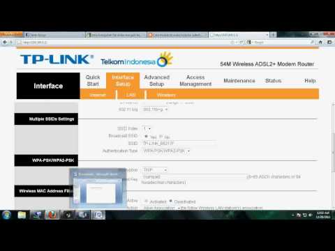 Video Tutorial Setting Wifi Pada Modem TP Link