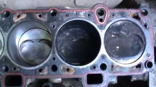 Разборка двигателя работавшего на цилиндрах расточенных под зеркало