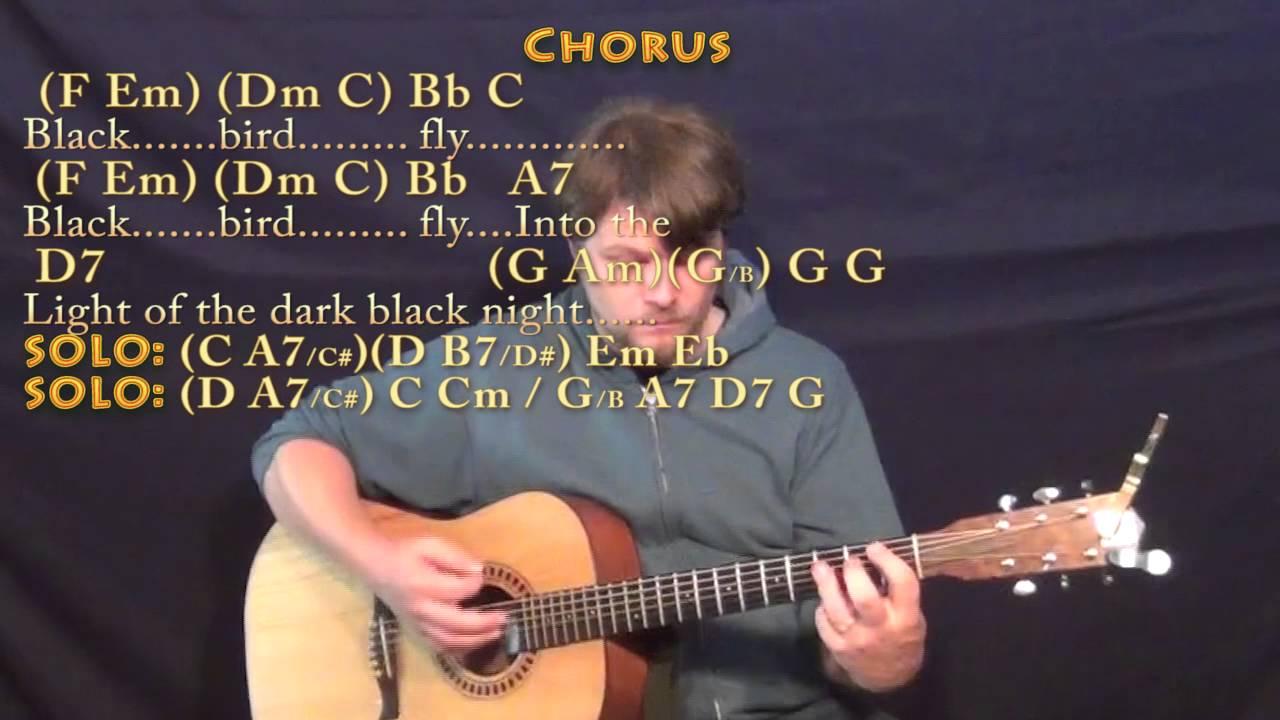 Blackbird The Beatles Strum Guitar Lesson Chord Chart Youtube