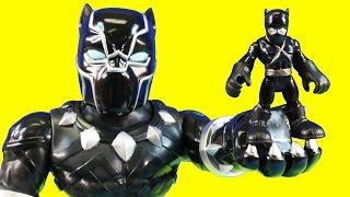 Marvel Black Panther Mega Size Rescues Ninja | Spider-man Climbs Wall & Iron Man Repulsor Blast