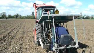 Machine planting grape vines in Lincolnshire England