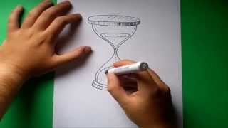 Como dibujar un reloj de arena paso a paso | How to draw an hourglass