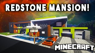 Modern Redstone Smart Mansion (w/ A Secret Vault, Movie Theater, & Basketball Court!)
