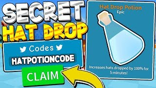 SECRET HAT DROP POTION CODE AND BEST TOOL IN UNBOXING SIMULTOR! Roblox