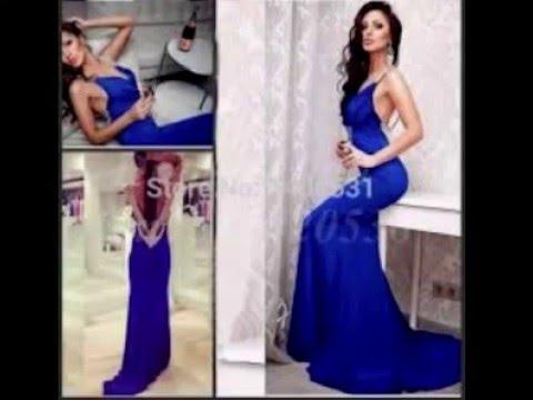 Vestidos elegantes para gorditas azul rey