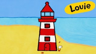 Lighthouse - Louie draw me a lighthouse | Learn to draw, cartoon for children