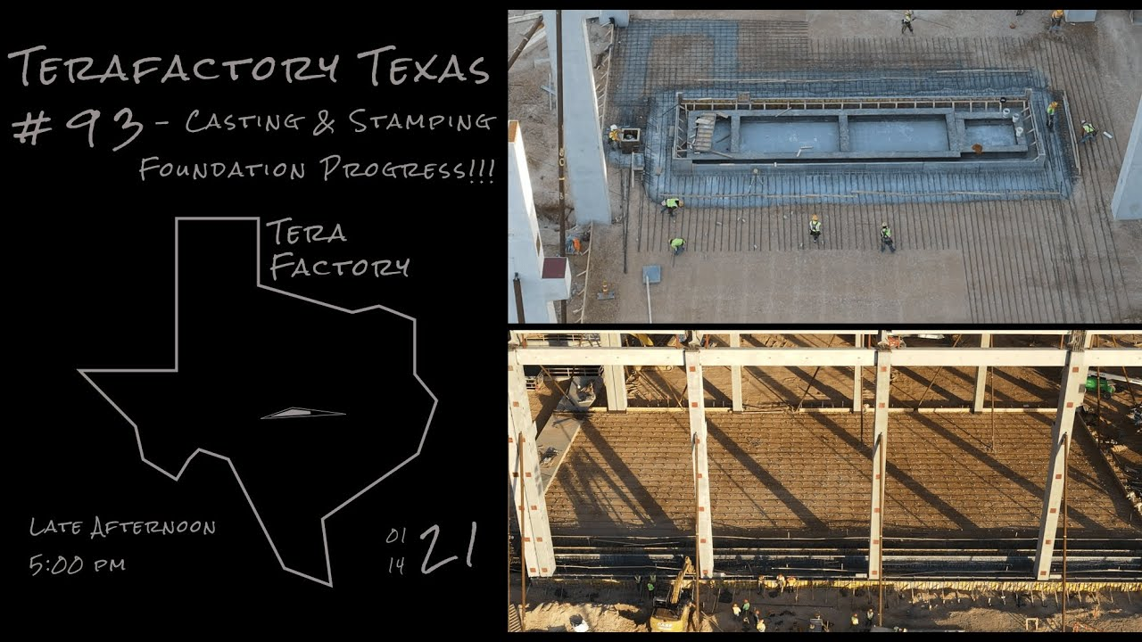 Tesla Terafactory Texas Update #93 in 4K: Casting & Stamping Foundation Progress - 01/14/21 (5:00pm)