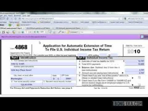 How To File Tax Return Extension Form 4868 - Youtube