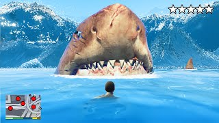 Surviving A MEGALODON TSUNAMI In GTA 5!