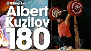 Albert Kuzilov (110.4kg) 180kg Hang Snatch 2016 Klokov Power Weekend