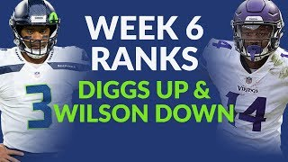 Week 6 Fantasy Football Ranks & Stefon Diggs Still Highly Ranked & Consider Benching Russell Wilson