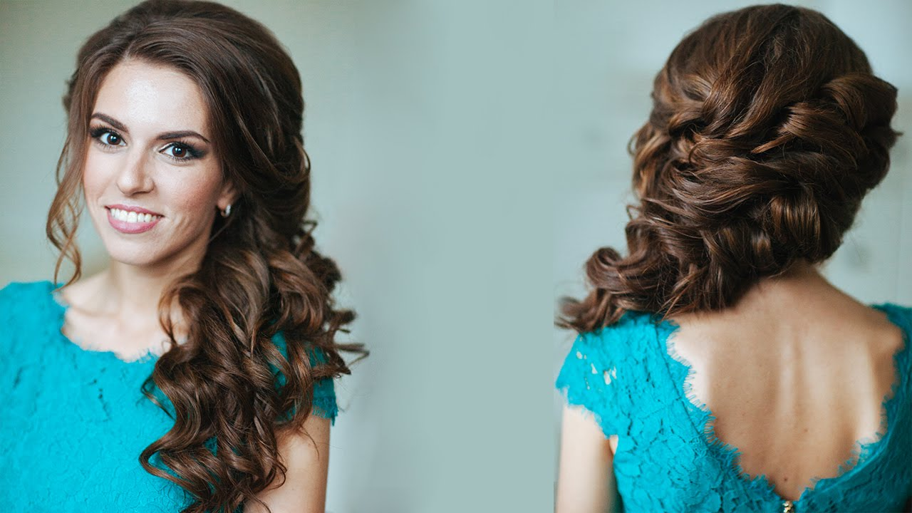 Side Swept Curls Wedding Prom Hairstyles Tutorial