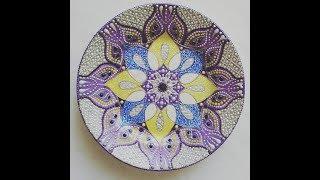 Декоративная тарелка. Часть оформления края тарелки. Точечная роспись