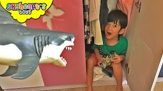 Hide and Seek Game with Fluffy the Shark - Playtime with kids shark toys children animals chomping