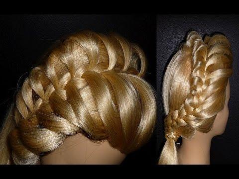 Причёска с плетением французской косички на бок на средние, длинные, короткие волосы