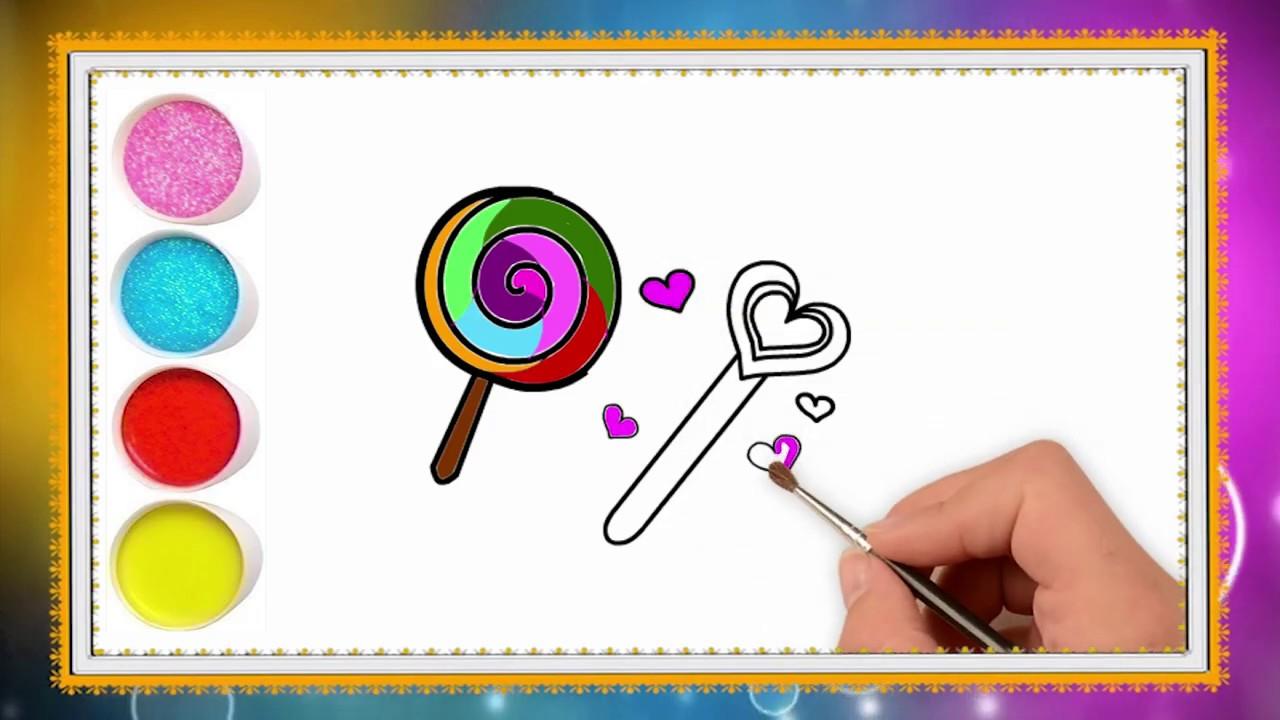 Belajar menggambar dan mewarnai permen lolipop untuk anak ...