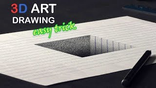 Easy Drawing of a 3D hole/ Pencil Trick Art Tutorial on line paper