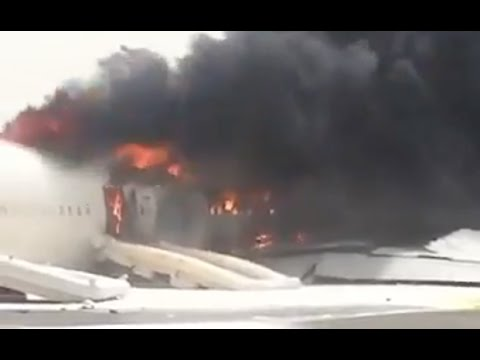 Emirates plane engulfed in flames after crash-landing at Dubai Airport