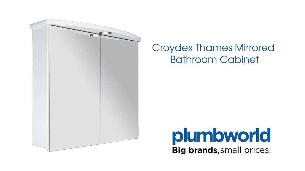 Croydex Thames Mirrored Bathroom Cabinet - Plumbworld - YouTube