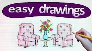 Easy drawings #230  How to draw a furniture / chair table