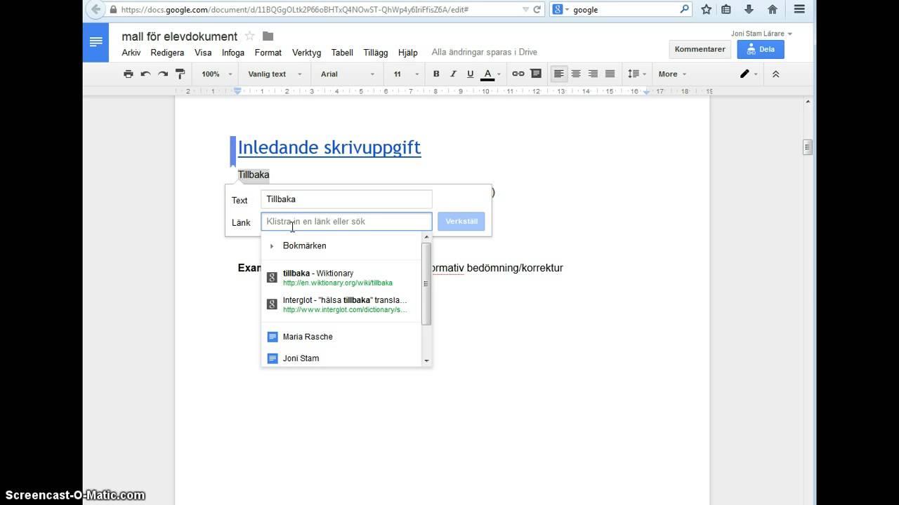 Instruktionsvideo Hur Man Kan Använda Google Dokument I Lärandet - Google dokument
