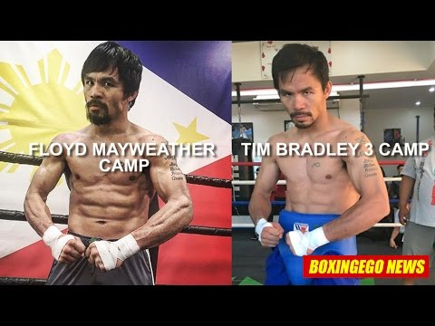 Pacquiao looks SMALL *EGO WEIGHT WATCHERS* Mayweather/Bradley 3 CAMP COMPARISON - 동영상