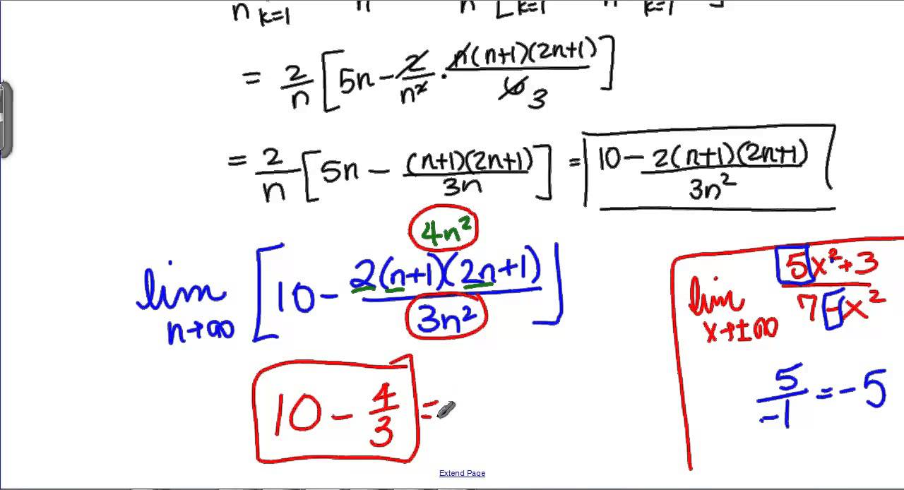 Finding Exact Areas With Riemann Sums Youtube