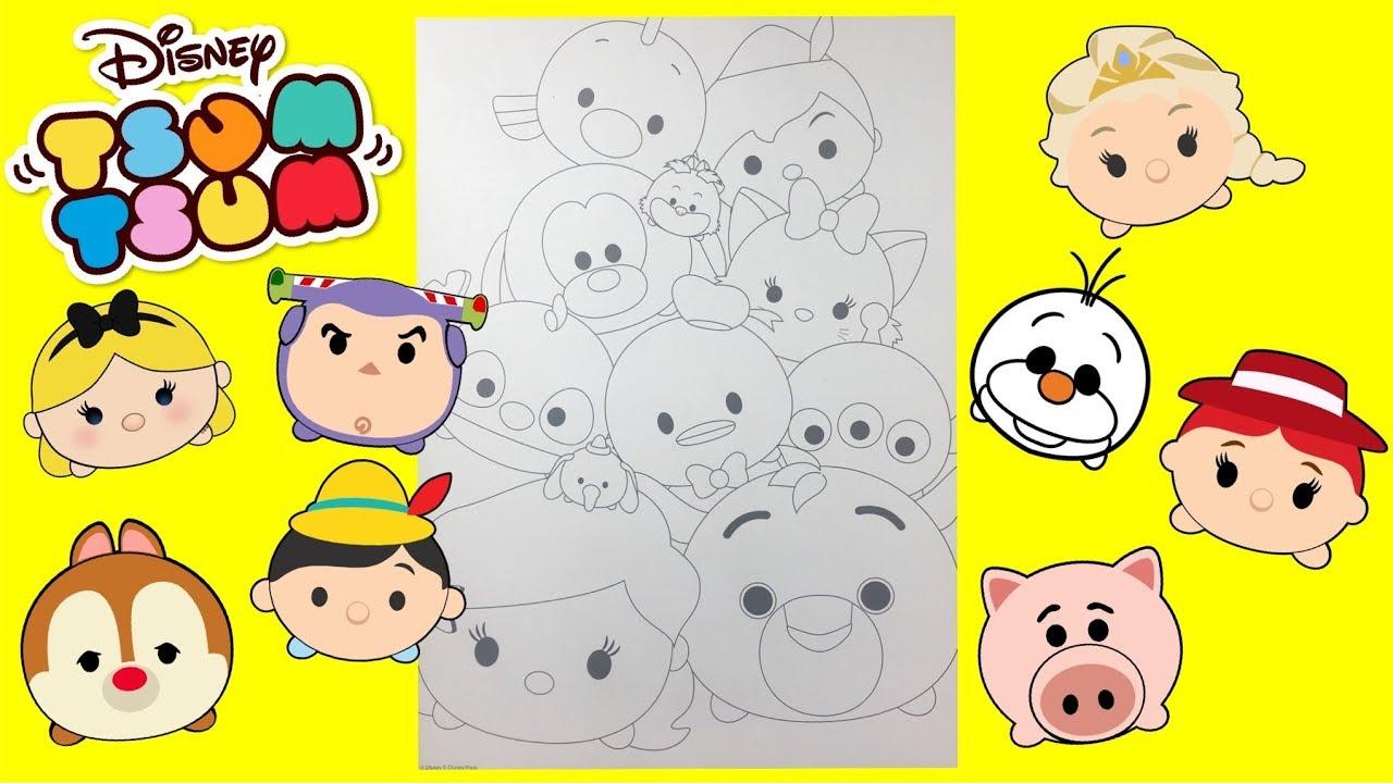 Coloreando El Tsum Tsum De Minnie Aprende A Colorear: Speedy Coloring Pages Disney Tsum Tsum Learn To Color For