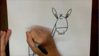 How To Draw A Donkey Step By Step Easy Cartoon Drawing Tutorial