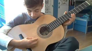 Видео урок игры на гитаре1 . Переборы,простые мелодии.
